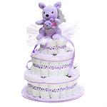 Lavender Kangaroo with her baby Diaper Cake