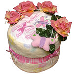 Pink Roses Diaper Cake