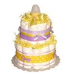 Yellow Lavender Diaper Cake