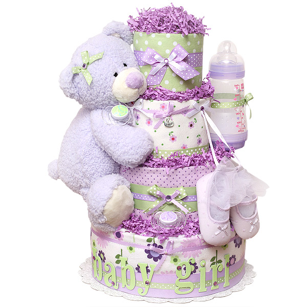 Lavendar bear diapers cake