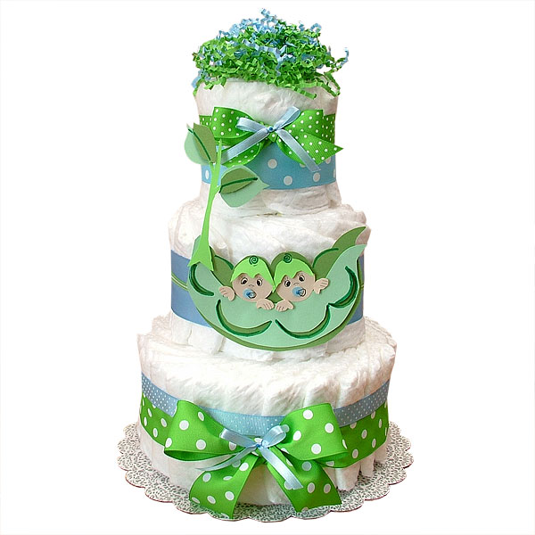 Two Peas in a Pod Twin Boys Decoration Diaper Cake - $65.00