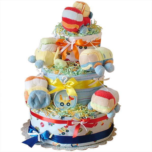 Under construction diapers cake