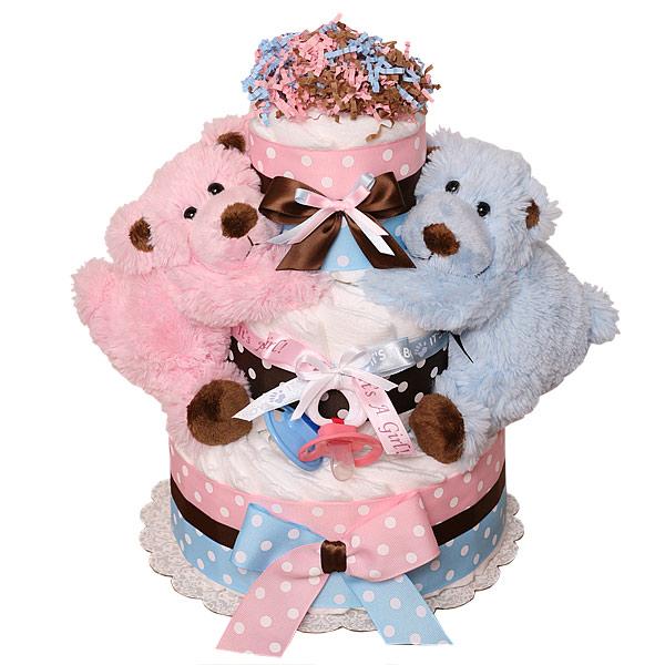 girl twin diaper Boy cake and