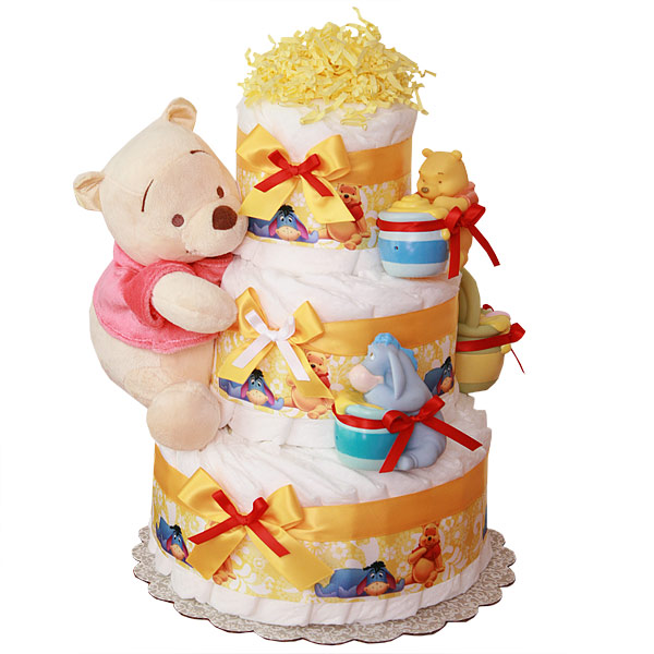 Simple Pooh Diaper Cake $8900 Cakes Mall Unique Baby