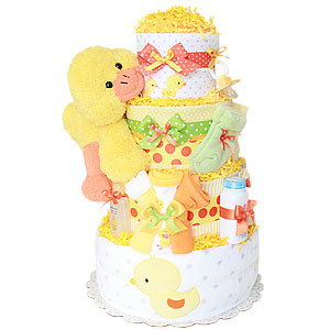 Orange and Yellow Duck Diaper Cake