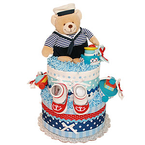 Sailor Bear Diaper Cake