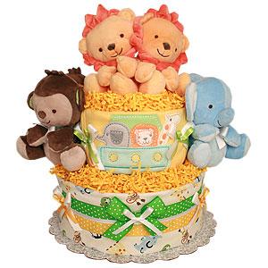 Noah's Ark Jungle Animals Diaper Cake
