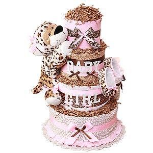 Baby Girl Leopard Diaper Cake