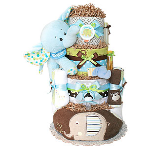 Green and Brown Bath Jungle Elephant Diaper Cake