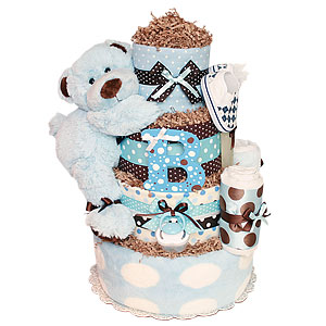 Big Blue and Brown Bear Diaper Cake
