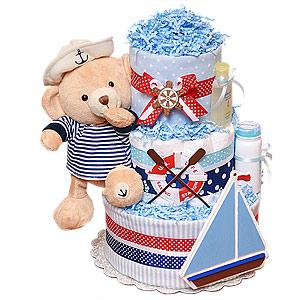 Sailor Bear Nautical Diaper Cake