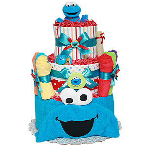 Bath Cookie Monster Diaper Cake