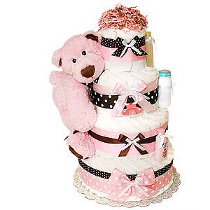 Big Modern Pink Bear Diaper Cake