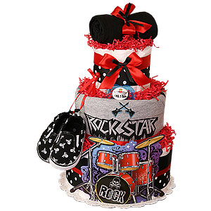 Black and Red Rock Star Diaper Cake