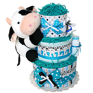 Black and White Cow Diaper Cake