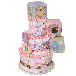 Little Buttons Bear Diaper Cake