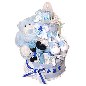 ABC Blue Bear Diaper Cake