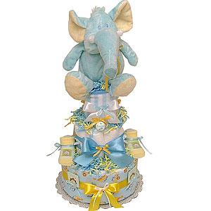 Jungle Safari Elephant Diaper Cake for a Boy!