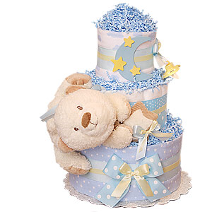 The Moon and Stars Musical Bear Diaper Cake