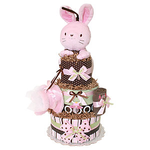 Brown and Pink Bunny Diaper Cake