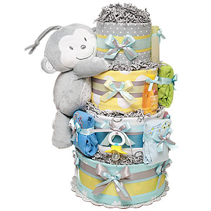 Yellow and Gray Musical Monkey Diaper Cake