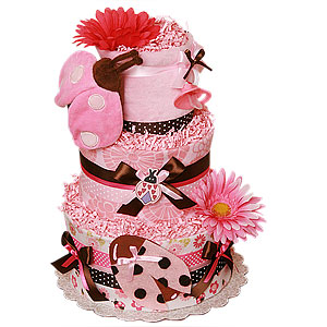 Brown and Pink Ladybug Blanket Diaper Cake