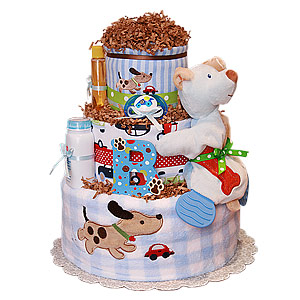 Cars and Puppies Diaper Cake