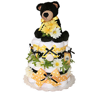 Bear and Bees Cloth Diaper Cake with 6 ply Gerber Diapers