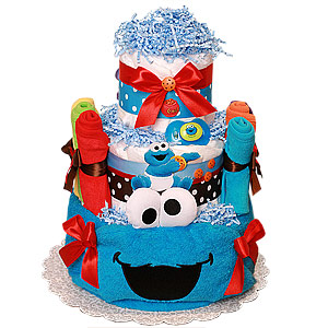 Cookie Monster Diaper Cake