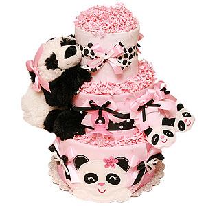 Baby Panda Pink Diaper Cake
