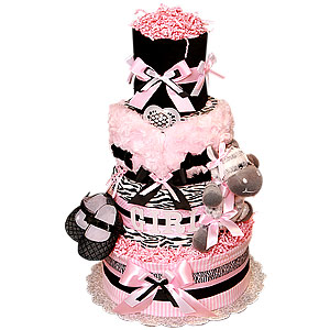 Black and Pink Custom Zebra Diaper Cake
