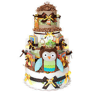 Custom Forest Owl Diaper Cake