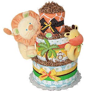 Custom Jungle Animals Diaper Cake