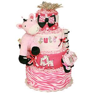 Cute Mommy and Me Zebra Diaper Cake