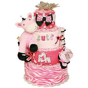 Cute Mommy and Me Zebra Diaper Cake