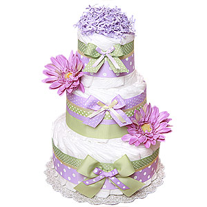Green and Purple Decoration Diaper Cake