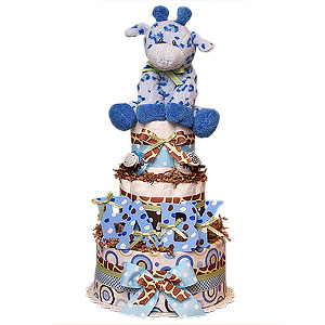 Jungle BABY Giraffe Blue Diaper Cake