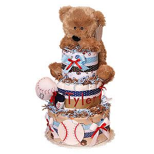 Baseball Bear Diaper Cake