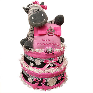 Black, White and Hot Pink Zebra Diaper Cake