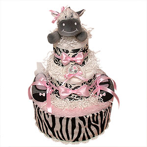 White, Black and Pink Zebra Diaper Cake