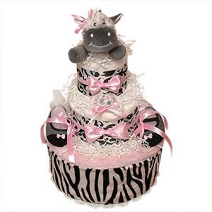 White, Black and Pink Zebra Diaper Cake