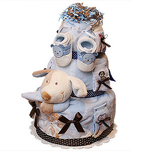 Blue and Brown Dog Diaper Cake