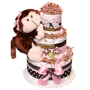 Cute Monkey Girl Diaper Cake