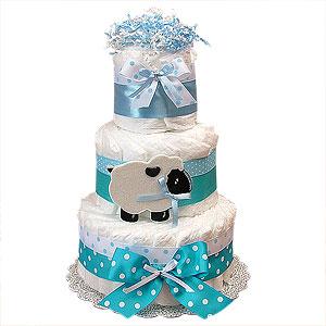 Blue Sheep Decoration Diaper Cake