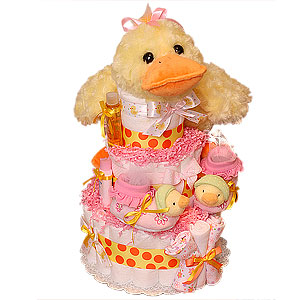 Duck Diaper Cake for a Girl!