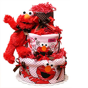 Modern Elmo Diaper Cake for a Girl