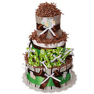 """Chocolate Green """"BABY"""" Diaper Cake"""