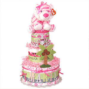 Personalized Queen of the Jungle Diaper Cake