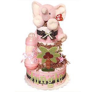 Pink Jungle Elephant Diaper Cake
