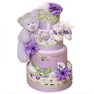 Lavender and Green Bear Diaper Cake